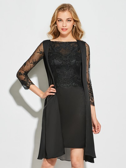 Long Sleeves Scalloped-Edge Sheath Knee-Length Cocktail Dress