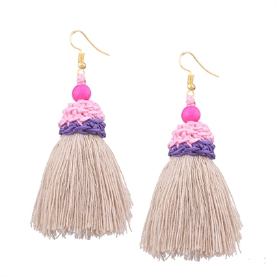 Alloy Woven Overgild European Tassel Earrings