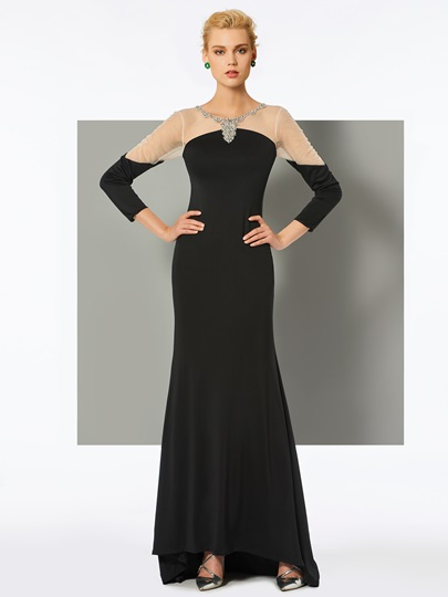 Mermaid Long Sleeves Beading Scoop Sweep Train Evening Dress