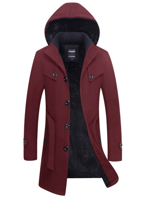 Hooded Midi Pattern Thicken Warm Slim Fit Men's Woolen Coat