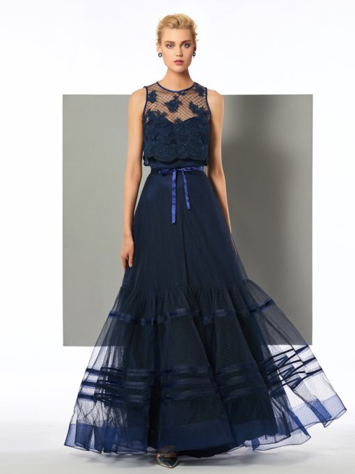 Jewel Neck Appliques Bowknot Evening Dress