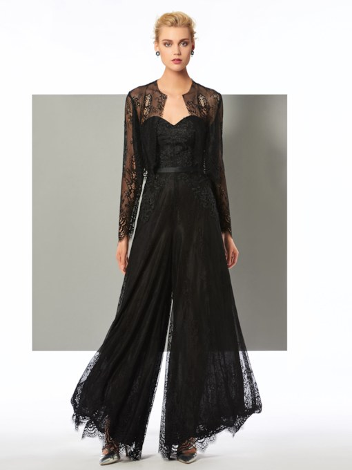Appliques Lace Sheath Evening Jumpsuits