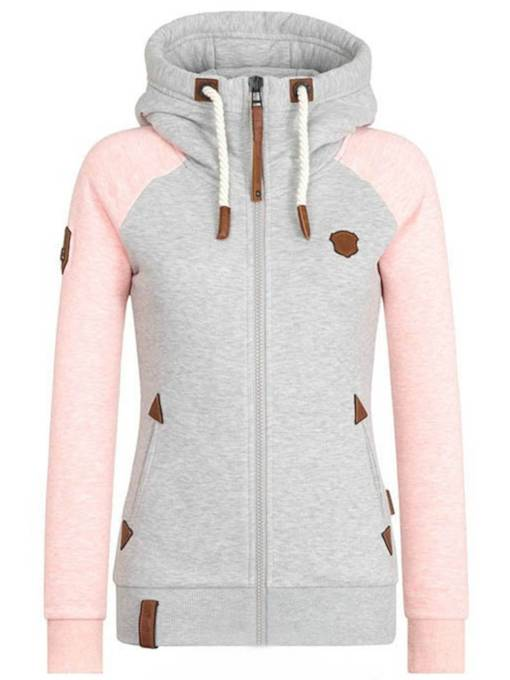 Color Block Zipper Slim Sweatshirt Women's Hoodie