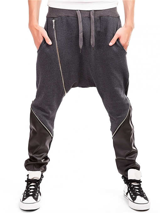 Lace-up Inclined Zipper Patchwork Vogue Casual Men's Harem Pants