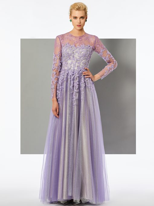 A-Line Jewel Appliques Beading Lace Long Sleeves Scoop Floor-Length Evening Dress
