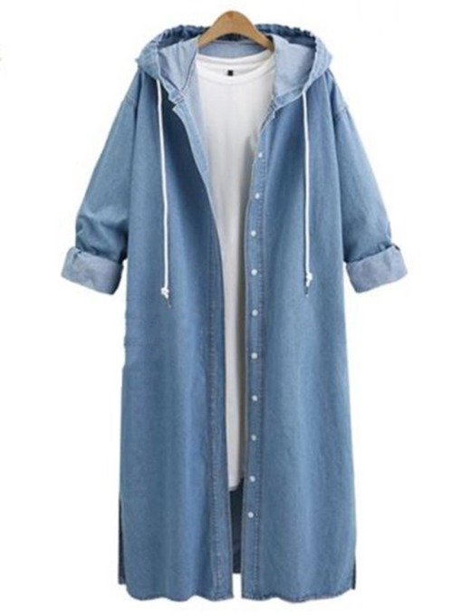 Jean Denim Hooded Long Loose Women's Trench Coat