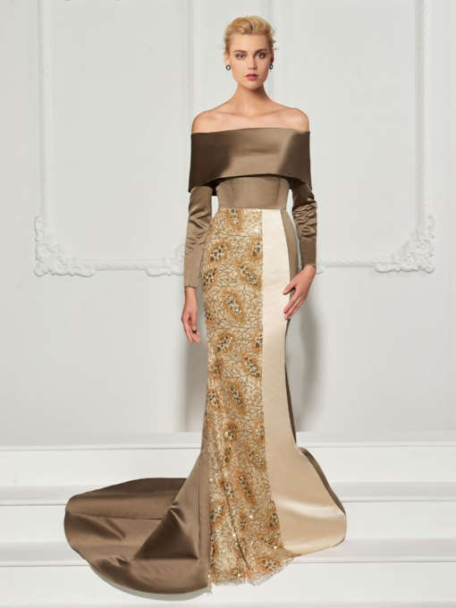 Long Sleeves Trumpet Off-the-Shoulder Sequins Sweep Train Evening Dress