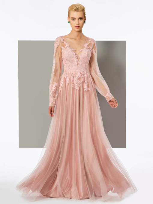 A-Line Long Sleeves Appliques V-Neck Floor-Length Evening Dress