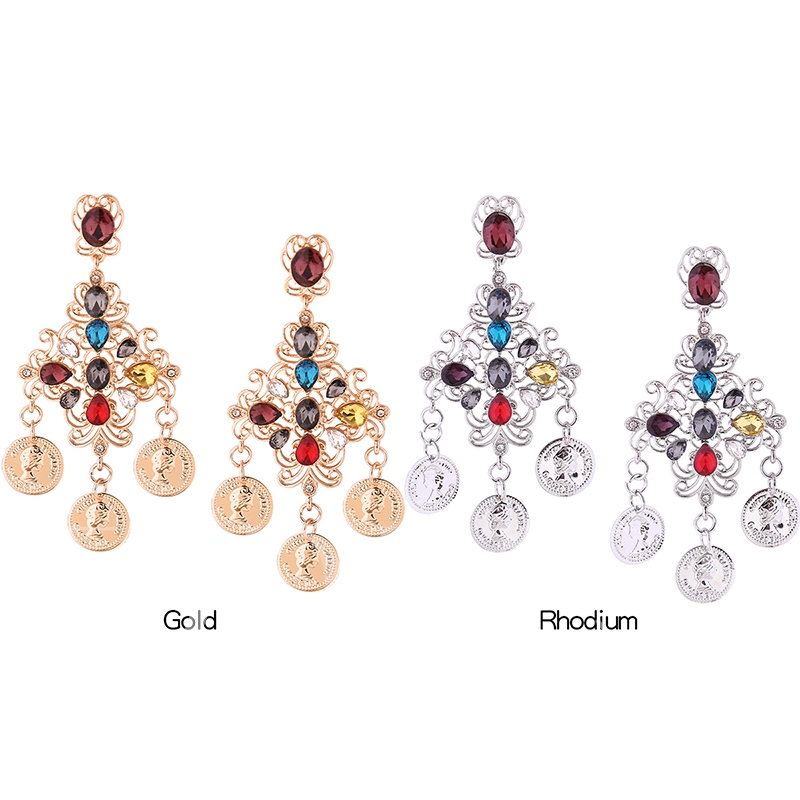 Colorful Zircon Inlaid Figure Pattern Hollow Floral Earrings