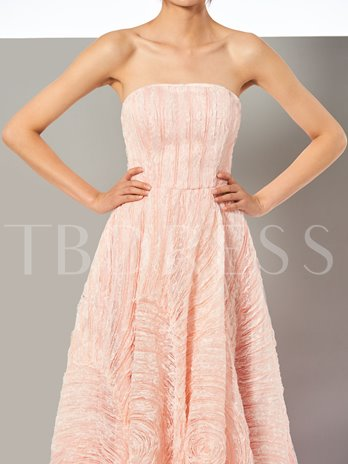 A-Line Lace Strapless Sleeveless Sweep Train Prom Dress