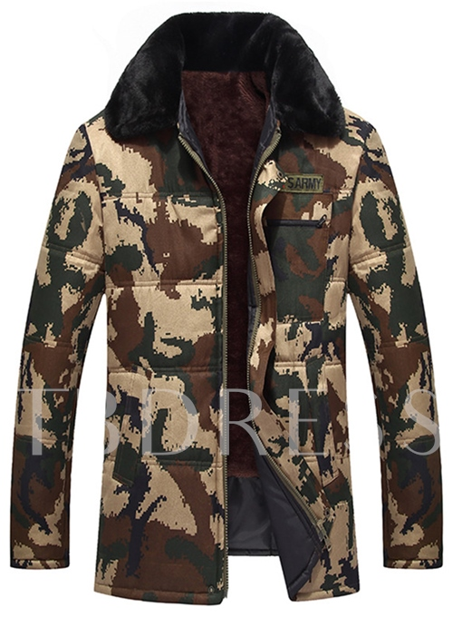 Faux Fur Hooded Camouflage Warm Cotton Loose Men's Casual Suit