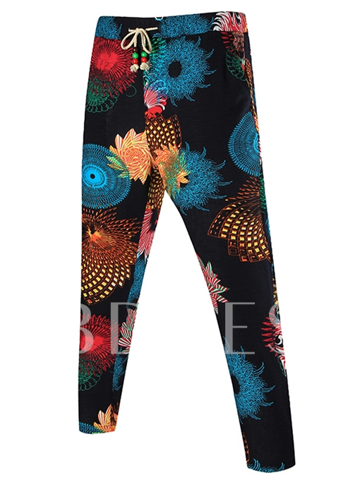 Lace-up Ethnic Printed Thin Slim Casual Men's Pants
