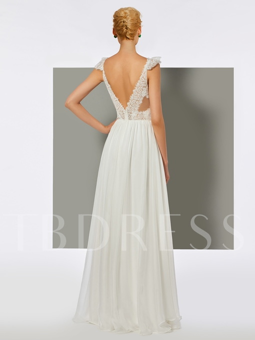 A-Line Lace Backless V-Neck Floor-Length Prom Dress