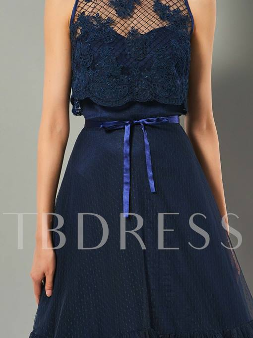 A-Line Jewel Appliques Bowknot Floor-Length Evening Dress