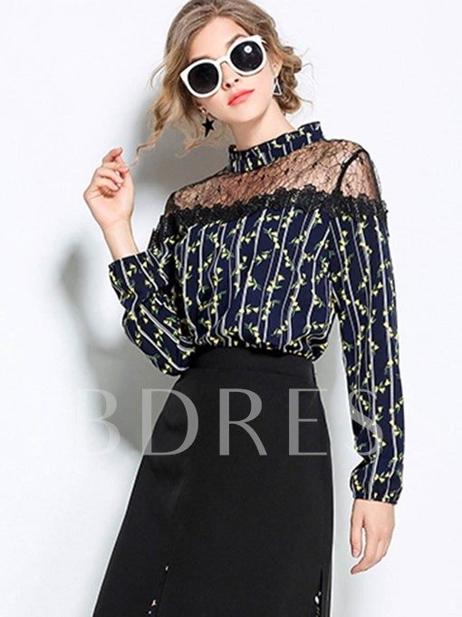 Stand Collar Floral Print Mesh See-through Women's Blouse