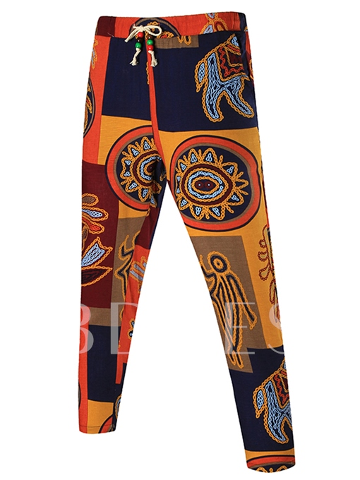 Lace-up Vintage Ethnic Printed Thin Slim Fit Men's Casual Pants