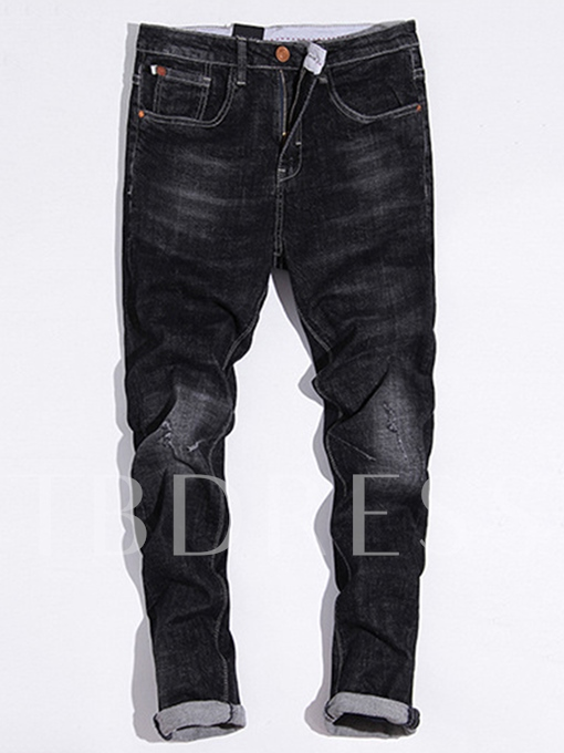 Mid Waist Classic Hole Elastic Slim Fit Men's Casual Jeans