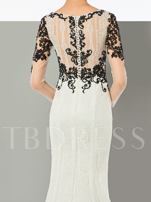 Mermaid Appliques Button Lace Long Sleeves Sweep Train Evening Dress