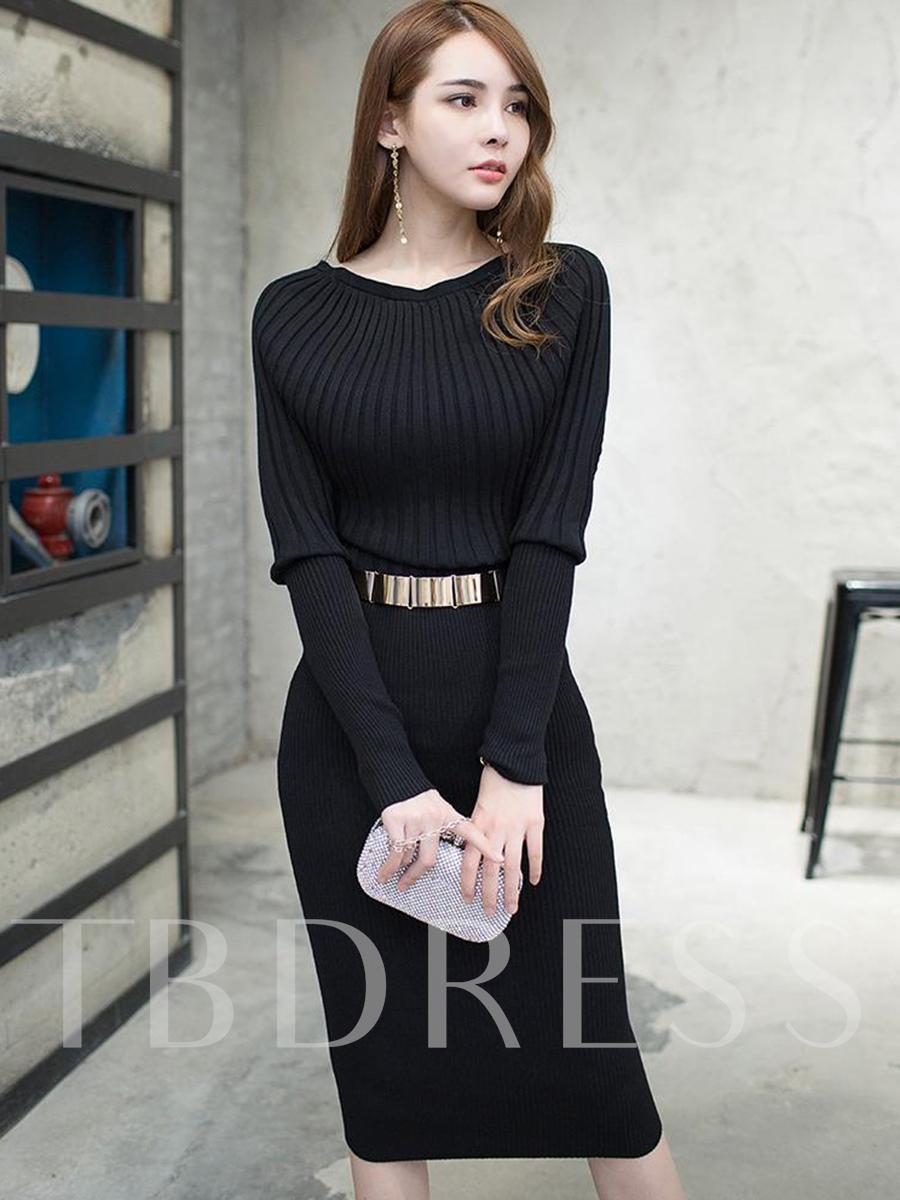 Batwing Sleeve Solid Color Women's Sweater Dress, Spring,Fall,Winter, 13002728