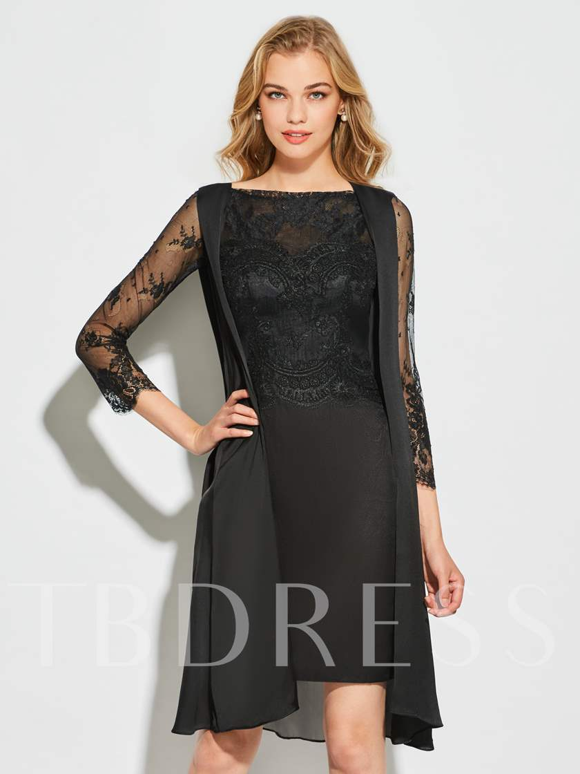 Long Sleeves Scalloped Edge Sheath Knee Length Cocktail Dress Sold Out
