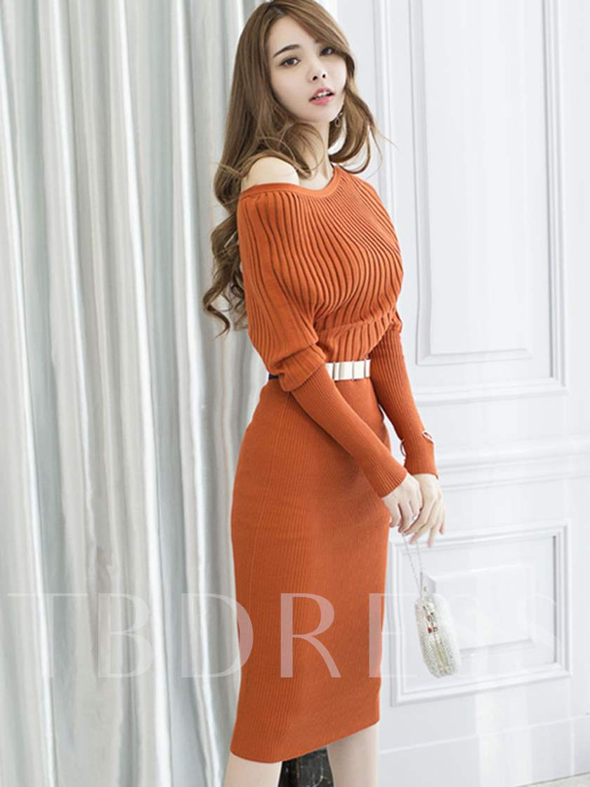 Batwing Sleeve Solid Color Women's Sweater Dress
