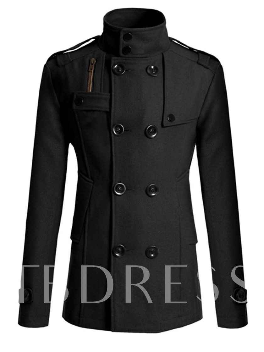 Midi-Length Double-Breasted Woolen Slim Men's Trench Coat