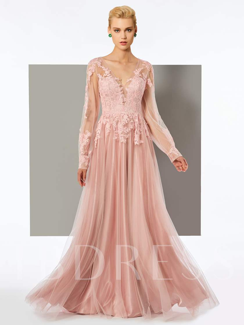 Long Sleeves Appliques Evening Dress