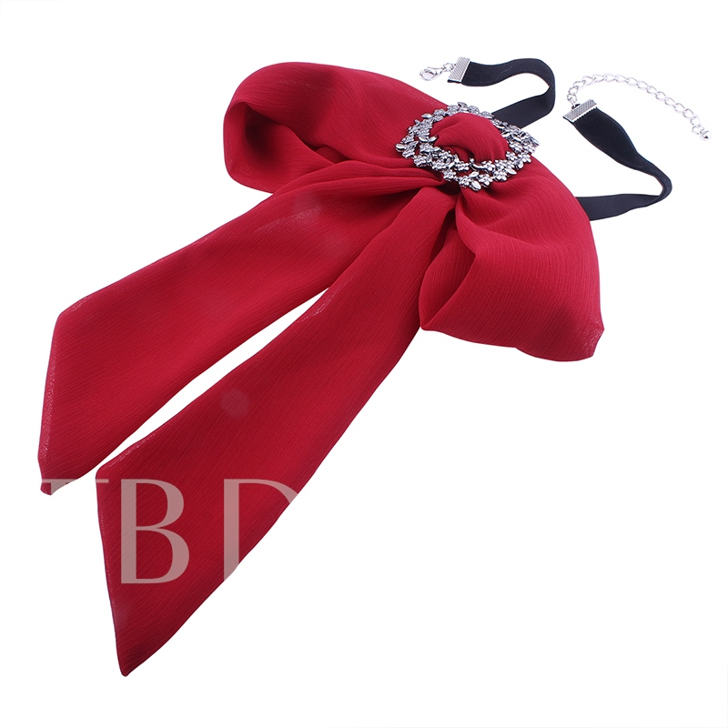 Bowknot Tie Style Chiffon Diamante Choker Necklace