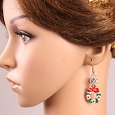 Christmas Round Bowknot Rhinestone Alloy Earrings