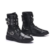Punk Rivet Men's Black Martin Boots