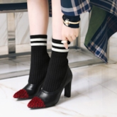 Pointed Toe Chunky Heel Patchwork Slip-On Ankle Boots