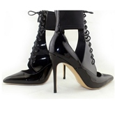 Pointed Toe Patchwork Cross Strap Women's High Heel Boots