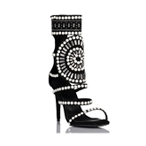Black Sandals Pearl Hollow Rhinestone Shoes for Women