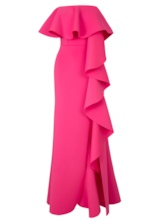 Rose Strapless Falbala Women's Maxi Dress