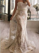Sweetheart Appliques Pearls Mermaid Evening Dress with Train