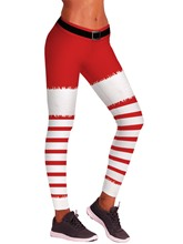 Christmas Stripe Print Color Block Slim Women's Leggings