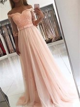 A-Line Half Sleeves Off-the-Shoulder Appliques Beading Sweep Train Evening Dress