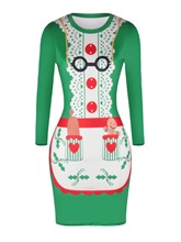 Green Printing Christmas Women's Bodycon Dress