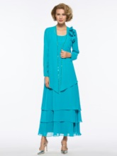 Ankle-Length Mother of the Bride Dress with Long Sleeve Jacket