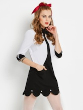 White Double-Layered Pockets Women's Day Dress