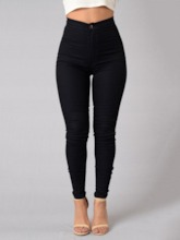 Button Plain High-Waist Women's Leggings
