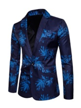 Notched Lapel Print Color Block Slim Men's Blazer