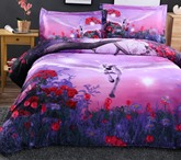 Flying Unicorn with Wings 4-Piece Polyester Bedding Sets/ Duvet Covers