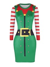 Christmas Pattern Striped Women's Bodycon Dress