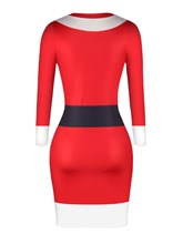 Christmas Red Pullover Long Sleeve Women's Bodycon Dress