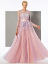 A-Line Long Sleeves Scoop Button Lace Floor-Length Evening Dress