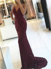 Trumpet Appliques Beading Lace Halter Sweep Train Evening Dress