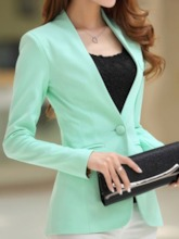 Slim Fit V-Neck Women's Long Sleeve Blazer