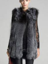 Faux Fur Lapel Loose Sleeveless Vest Women's Overcoat