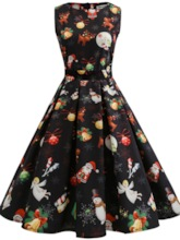 Sleeveless Reindeer Pattern Women's Christmas Dress